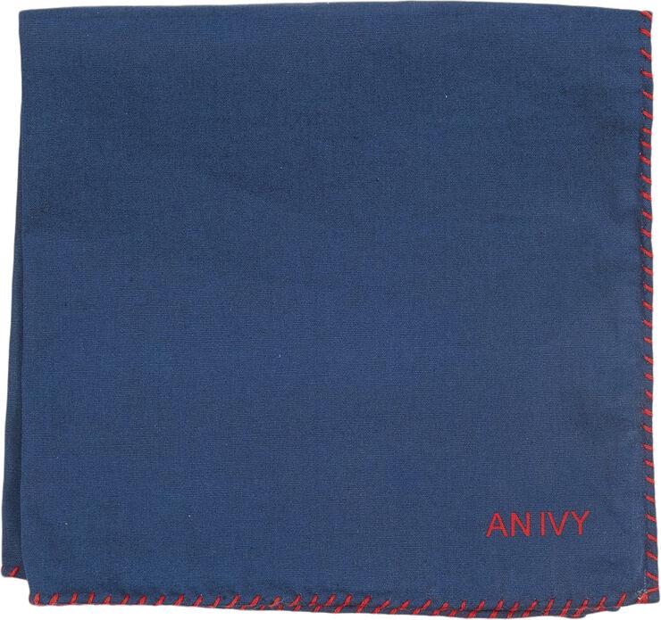 Navy Red Stitching Cotton Pocket