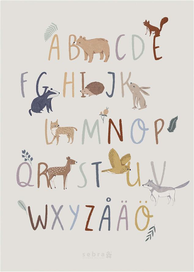 Plakat, alfabet A-Z + ÅÄÖ SE, Nightfall