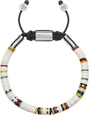Men's Beaded Bracelet with White Disc Beads