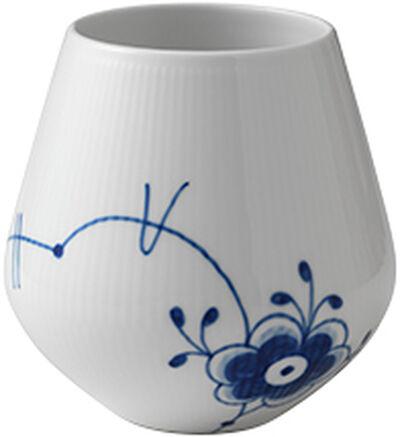 Blå Mega Riflet 15 cm. vase  - mellem
