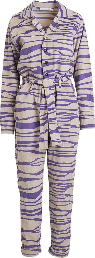 Bark print cord jumpsuit