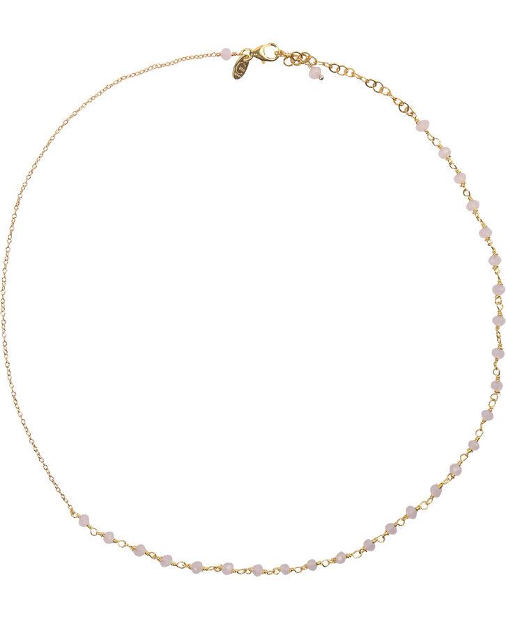 Anne  Rose Quartz Necklace - Gold