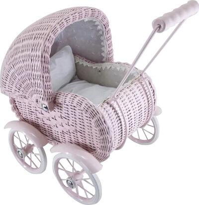 Dukkevogn i rosa kurveflet lille