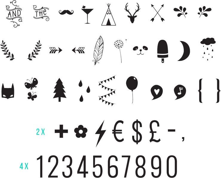 Lysboks symbol sæt - numbers & symbols