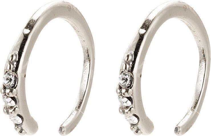 Øreringe, abril, sølvbelagt, krystal