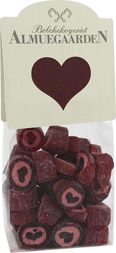 Hjerte bolcher med smag af kirsebær (anledningskort)