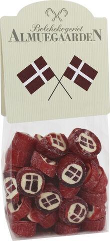 Danske Flag bolcher med smag af jordbær (anledningskort)