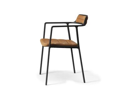 Vipp451 alu stol i Shade anilin læder