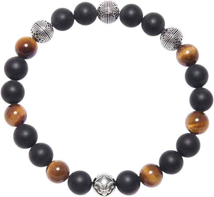 Men's Wristband with Brown Tiger Eye, Matte Onyx and Silver