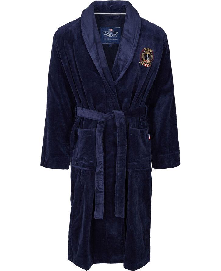 Lexington velour badekåbe blå