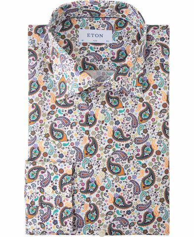 Green multi paisley poplin shirt