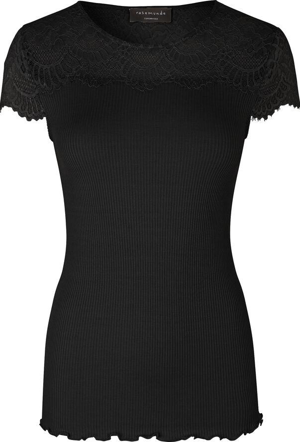 Silk t-shirt regular ss w/lace