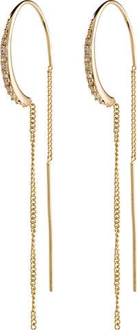 Øreringe, fire, guldbelagt, krystal