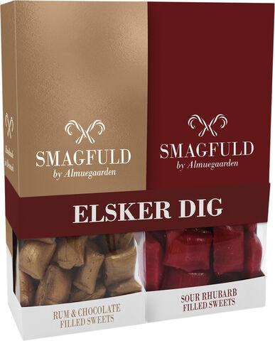 Smagfuld Gavepakning - ELSKER DIG rød/bronze