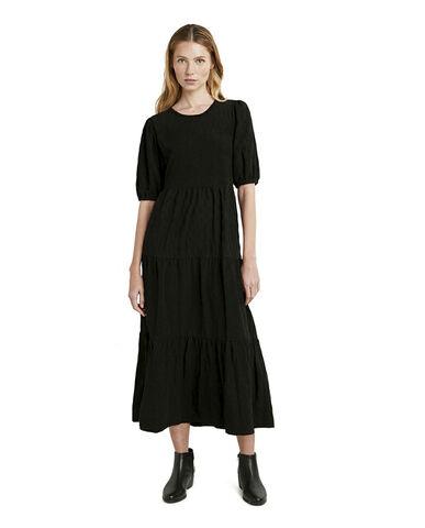 WOMAN WOVEN DRESS SHORT SLEEVE