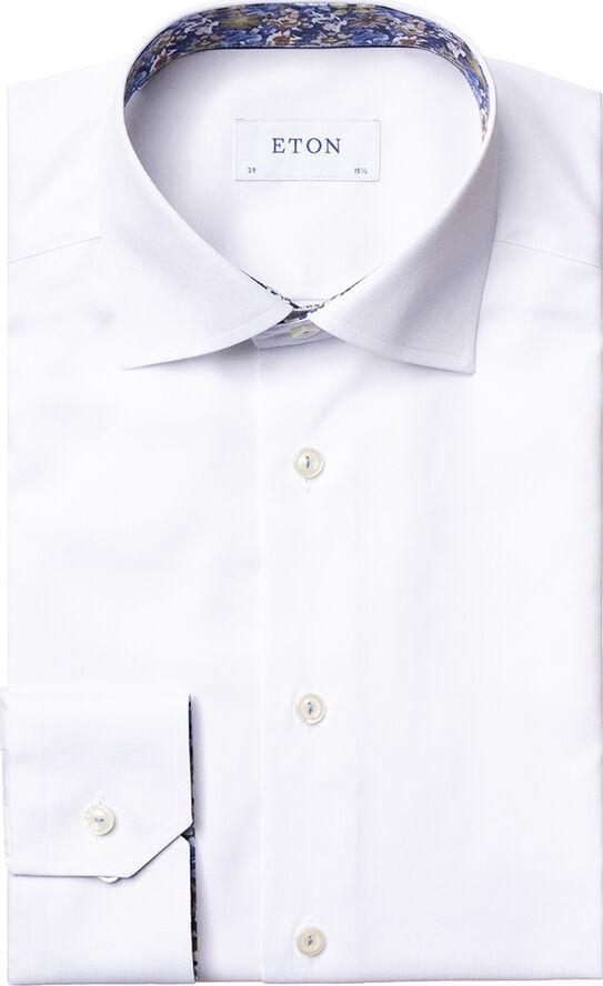 Twill shirt w/ contrast collar & cuff Contemporary fit