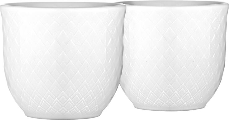 Rhombe Æggebæger H4,5 hvid porcelæn 2 stk.