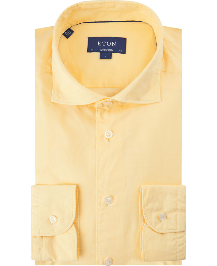 Yellow cotton silk shirt - soft Contemporary fit
