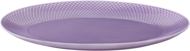 Rhombe Ovalt serveringsfad 35x26,5 lys lilla porcelæn