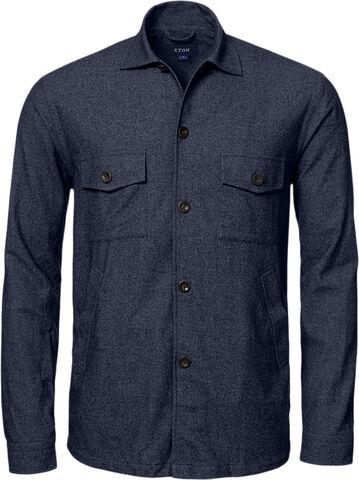 Navy Blue Cottonwoolcashmere Flannel Overshirt