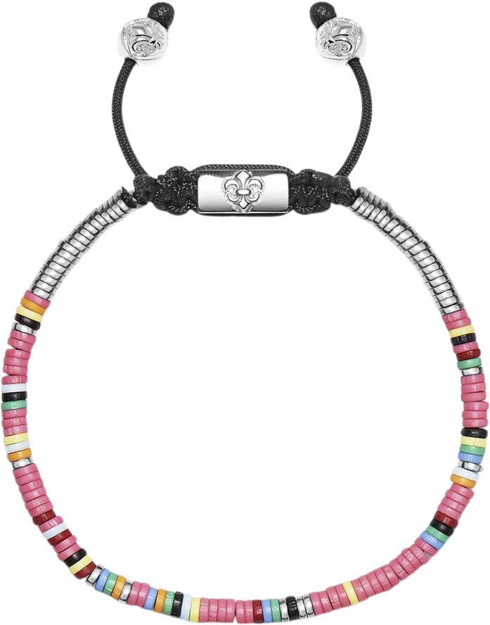 Men's Beaded Bracelet with Pink Mini Disc Beads