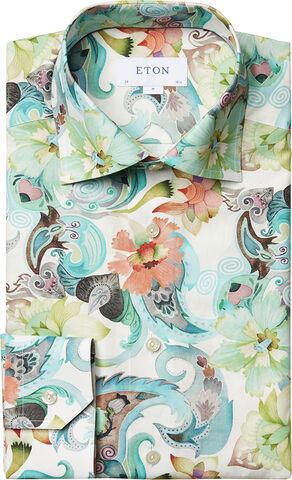 Water colour floral twill shirt Slim fit