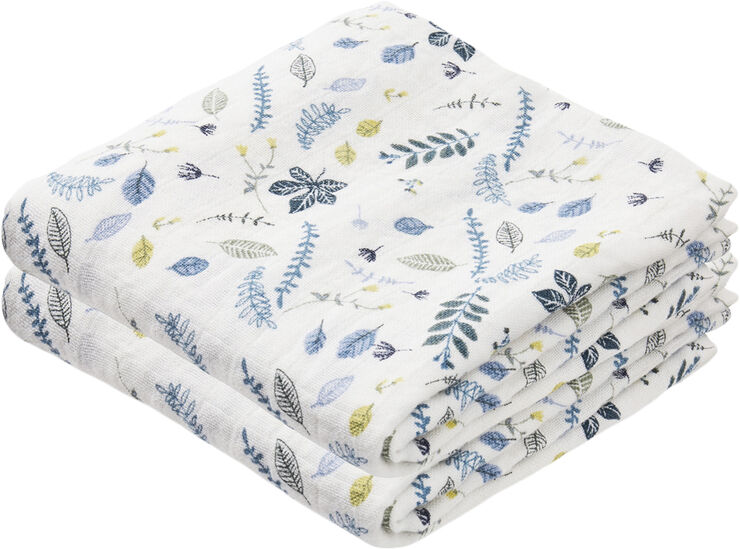Muslin Cloth 2 Pack - Pressed Leaves Blue
