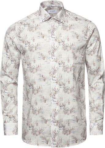 White Crane Print Signature Twill Shirt - Slim Fit