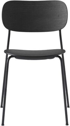 Co Chair Dining Chair, Black Steel Base, Black Oak Seat/Back