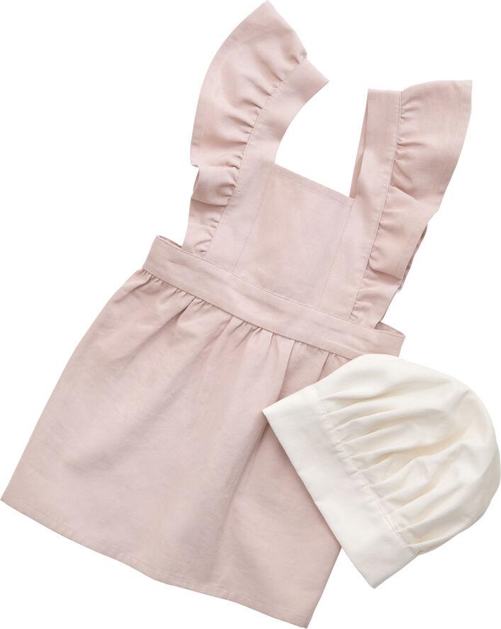 Børneforklæde m/kokkehue, dusty pink/classic white