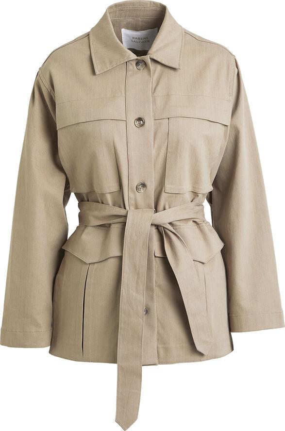 Twill stretch belted jacket