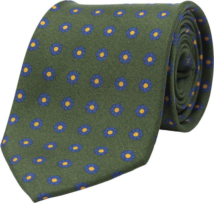 Green Flower Silk Tie