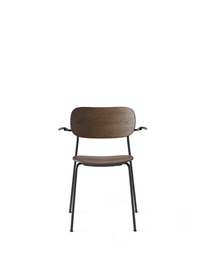 Co Chair Dining Chair, Black Steel Base, Dark Stained Oak Seat/Back w/