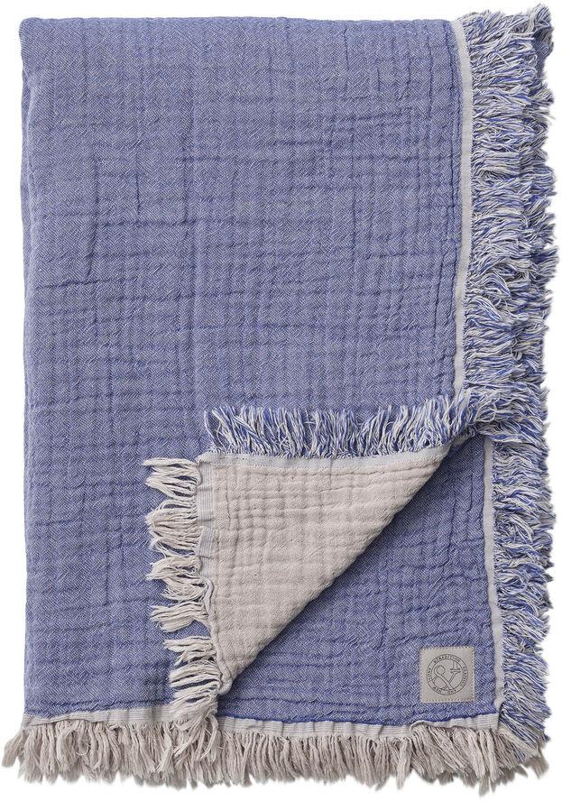 Collect Throw SC33, Cloud&Blue/Cotton 100% Organic. 260x260cm.
