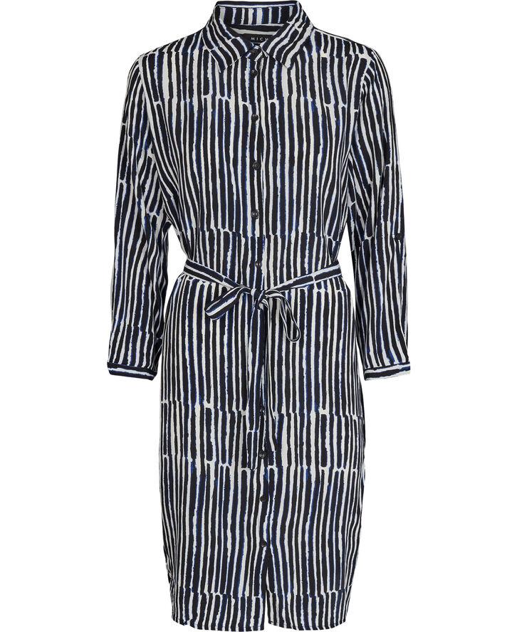 Dress_Blue Stripe Viscose Prin