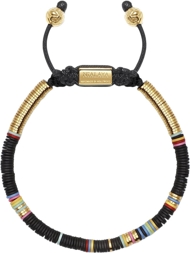 Men's Beaded Bracelet with Black Disc Beads and Gold