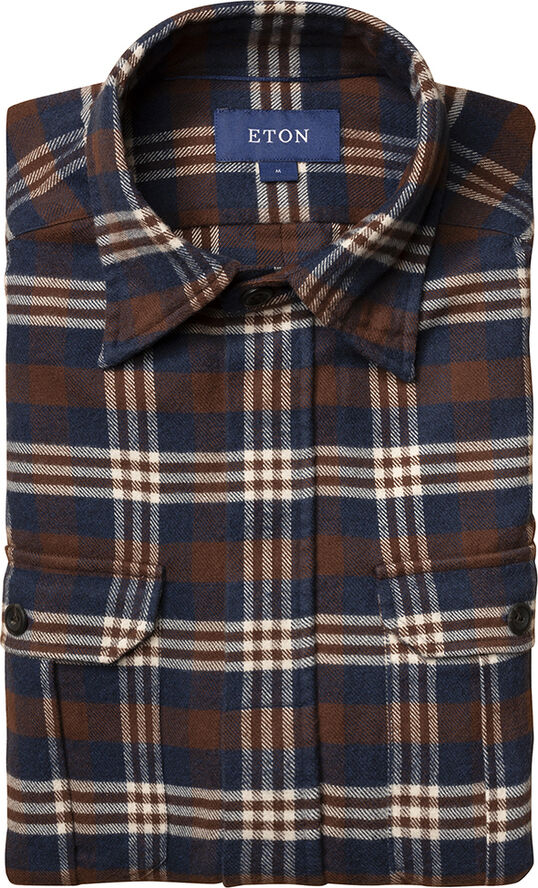 Blue & red checked four-pocket overshirt Casual fit