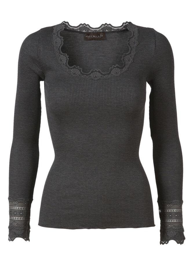 Silke T-shirt med blonder
