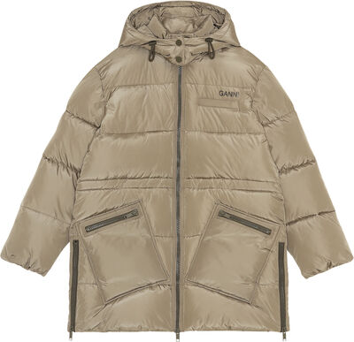 F6265 Oversize puf midi-frakke