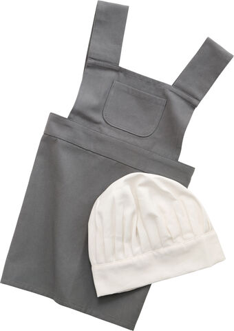 Børneforklæde m/kokkehue, elephant grey/classic white