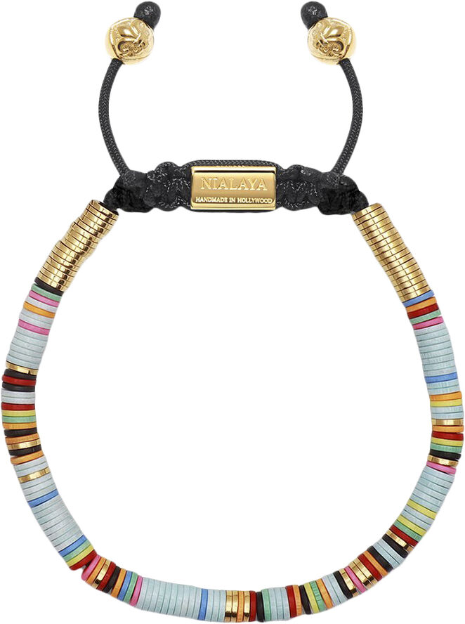 Men's Beaded Bracelet with Light Blue Disc Beads and Gold