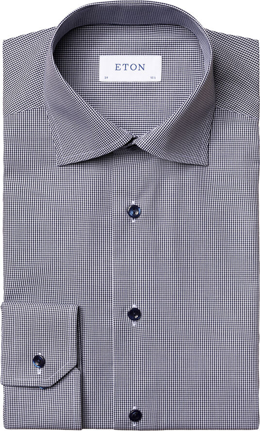 Mini gingham poplin shirt Contemporary fit
