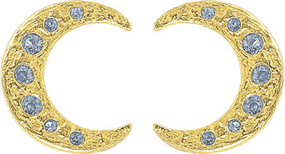 Blue half moon earrings