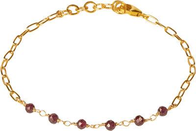 Daisy Red Garnet Bracelet - Gold