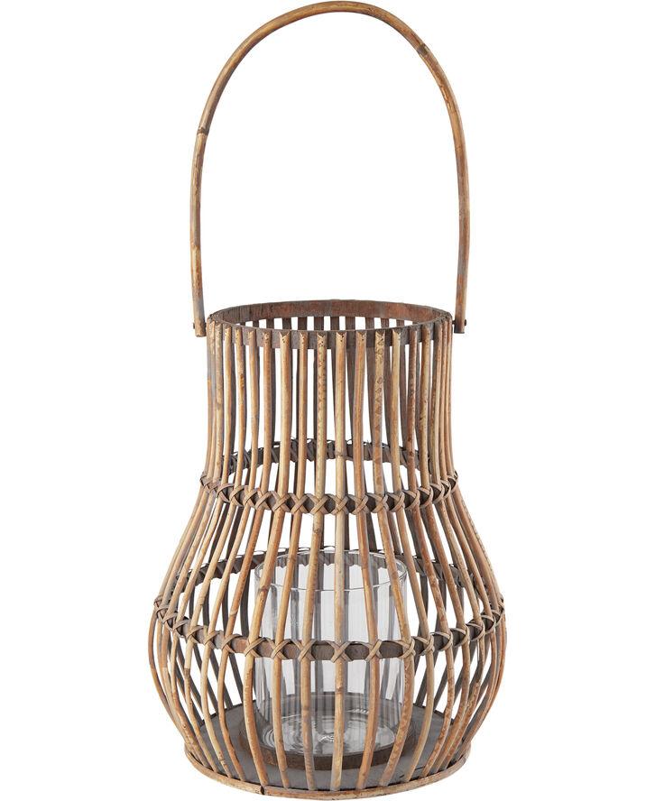 Rattan lantern, m/glas 30x30x38 cm