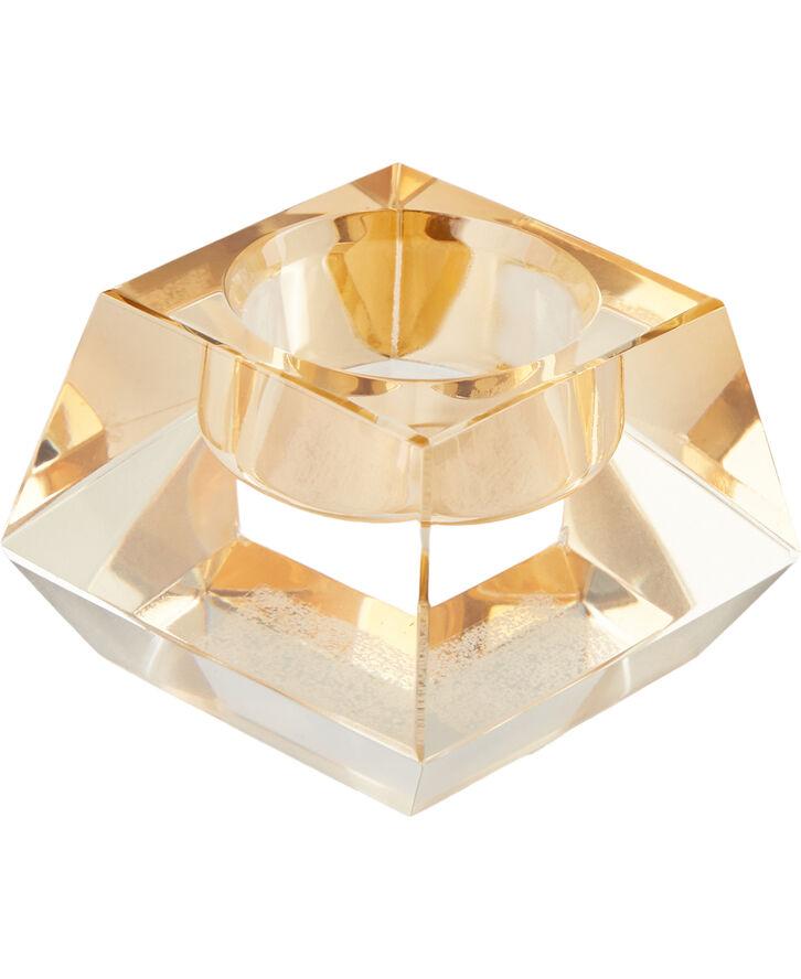 Lysestage 7x7x5 cm Amber