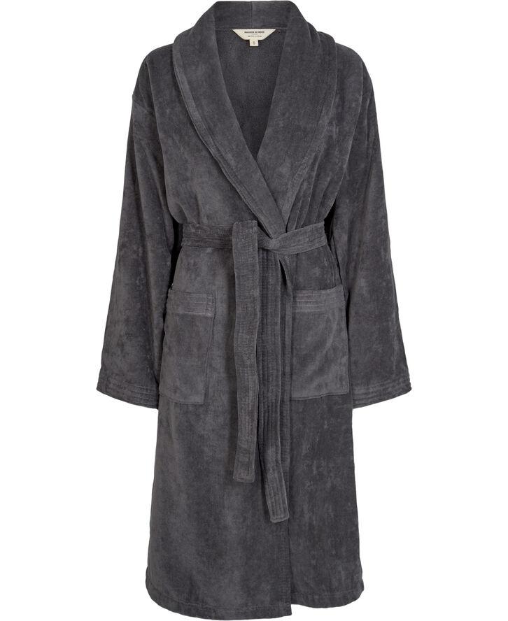 Velour robe dark grey - Organic GOTS
