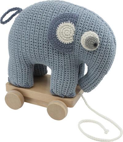 Hæklet trækdyr, elefanten Fanto, powder blue