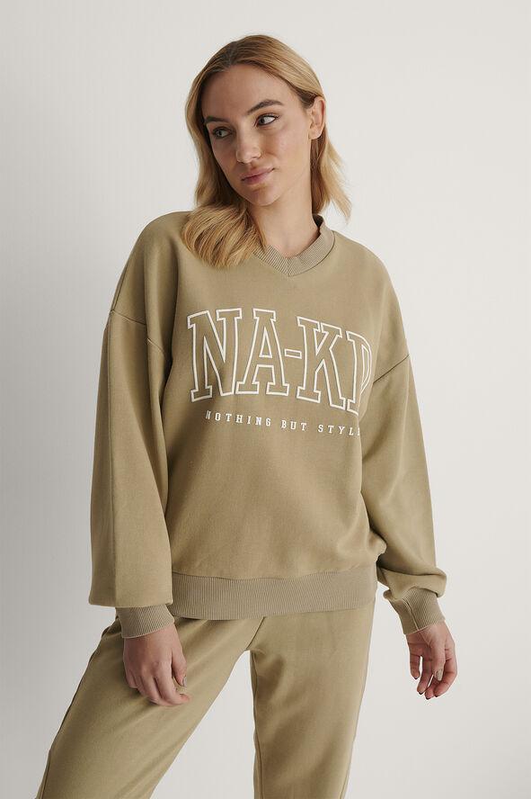NA-KD Printed V-Neck Sweater
