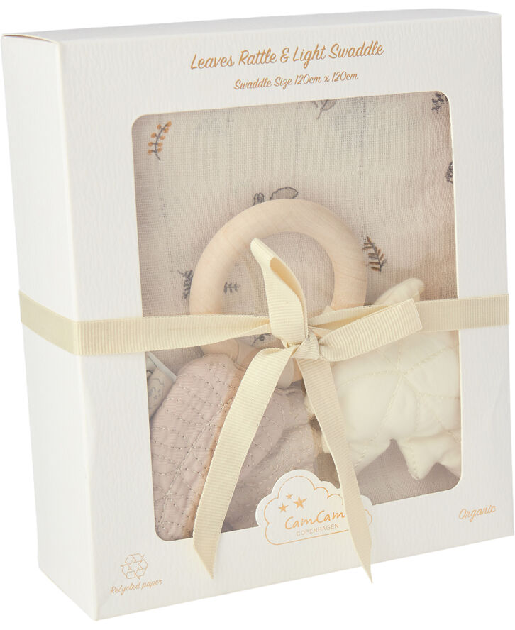 Gift Box w/ Printed Swaddle and Leaves Rattle - OCS